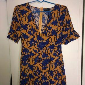 Mustard Floral Corset Swing Dress